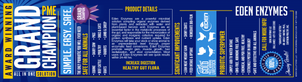 Blue Gold™ Eden Enzymes have been tested at Independent Facilities for quality and performance over leading brands. Blue Gold™ Eden Enzymes have a guaranteed analysis of Alpha-Amylase, Lipase, Catalase, Protease, and Superoxide Dismutase Enzymes. These powerful microbials are derived from plants and extracted using a plant-based benzoic acid without harsh chemicals. Blue Gold™ Eden Enzymes are a powerful pH balanced solution that enhances the overall health of your animal. They are essential to the metabolic processes of the gut and responsible for the micronization of organic cofactors in the metabolic process designed to quickly strengthen the immune system, increase protein synthesis, maximize nutrient uptake, and greatly assist ruminant and non-ruminant digestive systems by improving the digestibility of feeds. Blue Gold™ Eden Enzymes are repeated Grand Champion award winning enzymes with no known side effects. They will not harm the immune system and are safe for all animals, livestock, pets, and show animals including, but not limited too, horses, beef cattle, dairy cattle, all poultry including fowl, goats, rabbits, swine and show pigs, dogs, cats, sheep, and lamb. Our super-blend of plant-based digestive probiotic enzymes are administered through water via dosing medicator pumps for large-scale or added by hand to drinking water containers. Safely experience unprecedented health levels and Amazing Results with significant savings. ★ INDEPENDENT STUDY & THIRD PARTY PROVEN to Ensure Quality and Safety. Free of Toxins and Heavy Metals. Blue Gold Eden Enzymes have been Tested at Independent Facilities for Quality and Performance over Leading Brands. Eden Enzymes Greatly Assist Ruminant and Non-Ruminant Animal Digestive Systems by Increasing the Digestibility of Feeds. ★ REPEATED GRAND CHAMPION AWARD WINNING, SAFE FOR ALL PETS (INC. SHOW ANIMALS + LIVESTOCK), NO KNOWN SIDE EFFECTS! Used Safely Proven History with Horses, Beef Cattle, Dairy Cattle, All Poultry (in