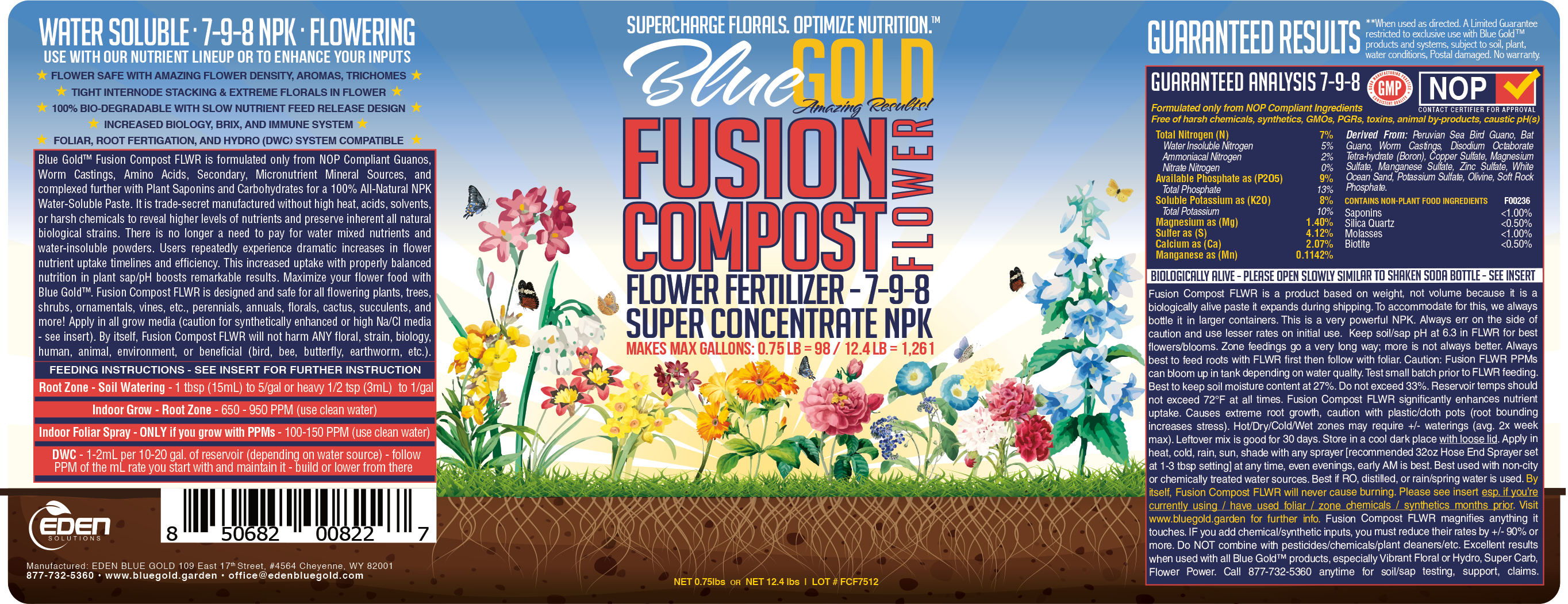 Blue Gold™ Fusion Compost Flower Fertilizer (NPK Fertilizer 7-9-8)